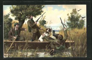 AK Jäger fällt während der Jagd aus dem Boot, Jagdhumor