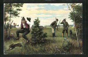 AK Mann hört die Jäger, sieht den fliehenden Hasen und schreckt hinter einem Busch auf, Jagdhumor