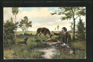 AK Mann am Weiher erschrickt vor dem angreifenden Hirschbock und ruft seinen Dackel zu Hilfe, Jagdhumor