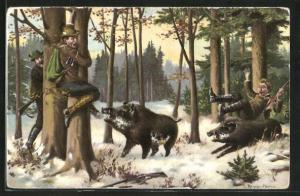 AK Jäger nehmen vor den Wildschweinen Reissaus, Jagdhumor