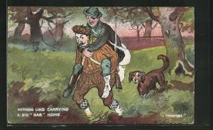 AK Jäger trägt den verletzten Kameraden nach Hause, Jagdhumor