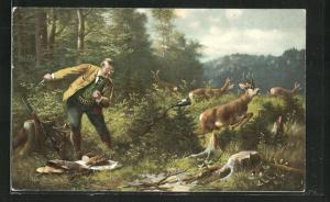 AK Jäger wird von den Rehen beim Picknick gestört, Jagdhumor