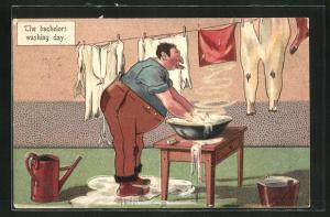 AK Mann wäscht Wäsche am Zuber