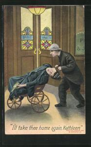 Künstler-AK I'll take thee home again, Katleen, Mann brint seine betrunkene Frau in einer Karre nach Hause