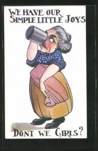 Künstler-AK Dame geniesst einen Krug Bier