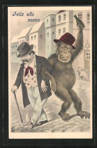 Künstler-AK Betrunkener Affe und alter Herr im Ort