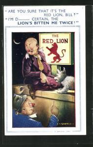 Künstler-AK The Red Lion, Betrunkener sitzt mit Hund auf einer Mauer vor einem Werbeschild