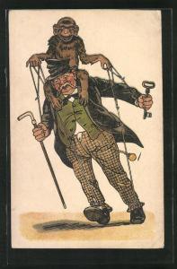 Künstler-AK Affe bewegt einen Betrunkenen als Marionette