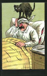 Künstler-AK Betrunkener hat einen Kater im Bett, Kater steht auf dem Kopf