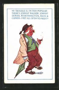 Künstler-AK Betrunkener mit Zigarre und Schirm