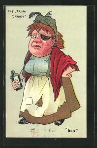 Künstler-AK betrunkene Dame mit Augenklappe und Schnapsflasche