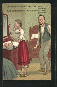Künstler-AK Dame nimmt Zopf, Brüste und Gebiss vor dem Spiegel ab, Mann ist entsetzt