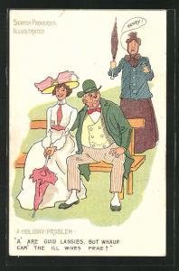 Künstler-AK A Holiday-Problem, älterer Herr flirtet mit junger Frau auf einer Parkbank, wütende Ehefrau mit Schirm