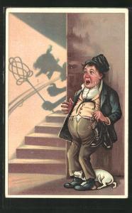 Künstler-AK ängstlicher Ehemann blickt auf den Schatten seiner wütenden Ehefrau mit Teppichklopfer im Treppenhaus