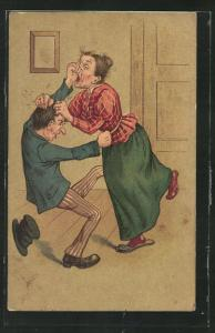 Künstler-AK Streit unter Eheleuten