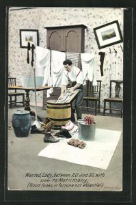 Künstler-AK Mann beim Wäschewaschen in der Waschküche