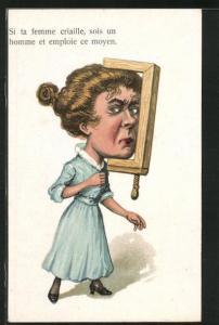Künstler-AK frauenfeindlicher Humor, Dame mit Kopf in einer Schraubzwinge