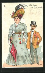 Künstler-AK frauenfeindlicher Humor, eleganter Herr blickt auf eine korpulente Dame im Kleid