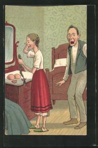 Künstler-AK Frau nimmt Zopf, Zähne und Brüste vor dem Spiegel ab, Mann schaut verblüfft