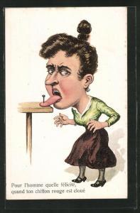 Künstler-AK Frau ist mit der Zunge am Tisch festgenagelt