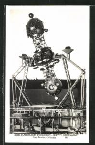 AK Los Angels, CA, Zeiss Planetarium Instrument, Griffith Observatory