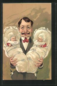 Künstler-AK überforderter Vater mit zwei Babys im Arm