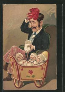 Künstler-AK erschöpfter Vater füttert seine drei Babys gleichzeitig