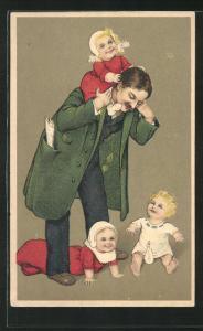 Künstler-AK Vater spielt ausgelassen mit seinen drei Kindern