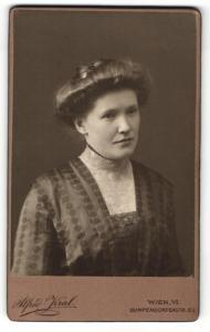 Fotografie Alfred Kral, Wien, Portrait hübsch gekleidete Dame mit Hochsteckfrisur