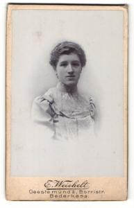 Fotografie E. Weichelt, Bederkesa, Portrait elegant gekleidete Dame mit Kragenbrosche