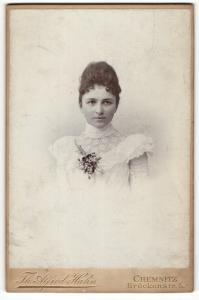 Fotografie Th. Alfred Hahn, Chemnitz, Portrait bürgerlich gekleidete Dame mit Hochsteckfrisur und Ansteckblume