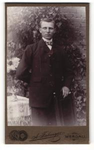 Fotografie A. Fabinger, Werdau i. S., Portrait blonder junger Mann im Anzug im Garten stehend