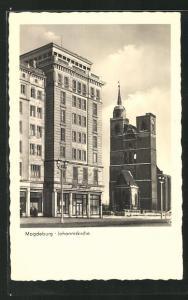 AK Magdeburg, Glas-Pavillon und Johanniskirche