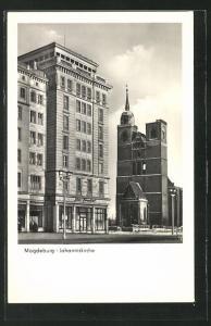 AK Magdeburg, Partie mit Johanniskirche und Neubau