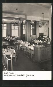 AK Halle /Saale, Konsum-Hotel Rotes Ross, Gastraum