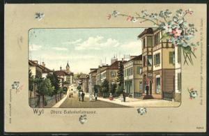 Passepartout-Lithographie Wyl, Obere Bahnhofstrasse