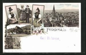 Lithographie Freiburg i / B., Totalansicht, Schwarzwälder Bauernhaus, Schwarzwälder Volkstrachten