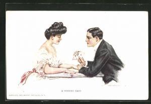 AK Elegantes Paar beim Kartenspiel