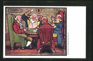 AK Abendliche Männerrunde beim Kartenspiel