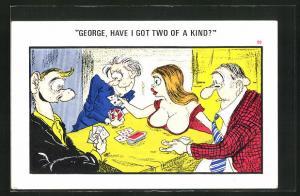 AK Verführerische Dame sorgt beim Kartenspiel für Verwirrung