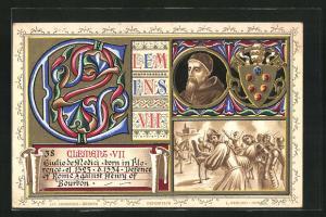 AK Papst Clemens VII., Portrait, Wappen, Männer in der Schlacht