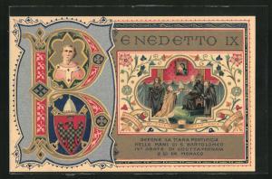 AK Papst Benedetto IX., Portrait, Wappen, Übergabe der Tiara