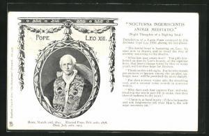 AK Papst Leo XIII., Portrait, Nocturna Ingemiscentis animae meditatio