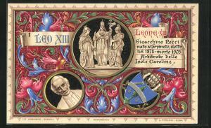 AK Papst Leo XIII., Portrait, Wappen