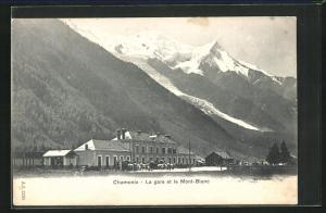 AK Chamonix, La gare et le Mont-Blanc, Bahnhof