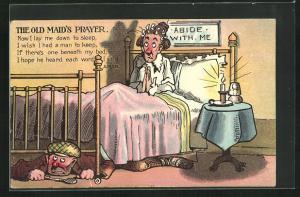 AK The Old Maid`s Prayer, Betende Frau mit Mann unterm Bett