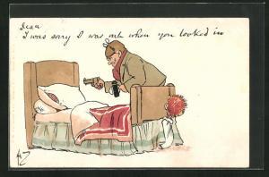 AK Herr mit Pistole und Mann unter dem Bett
