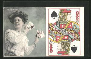 AK Its my Game, Dame mit Spielkarten, Pik Bube
