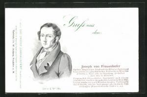 AK Portrait von Joseph von Frauenhofer, Optiker, Mitglied der Akademie der Wissenschaften, 1787-1826