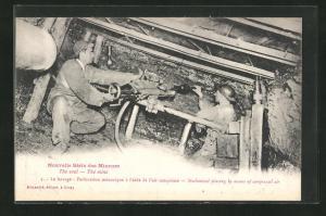 AK Nouvelle Serie des Mineurs, The coal, The mine, Le havage, Perforation mecanique a l`aide de l`air comprime